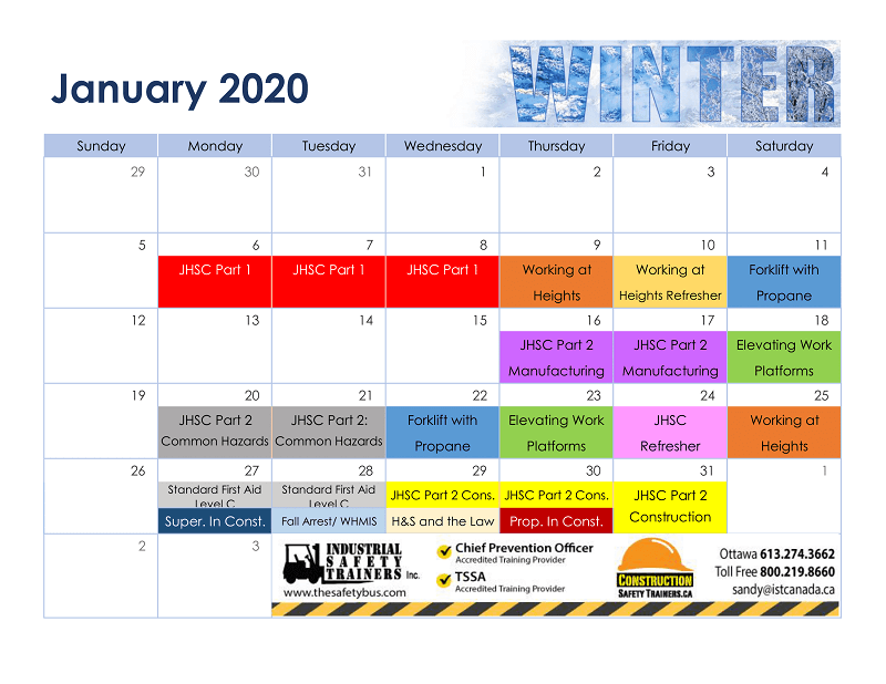 Ottawa public courses calendar 2020